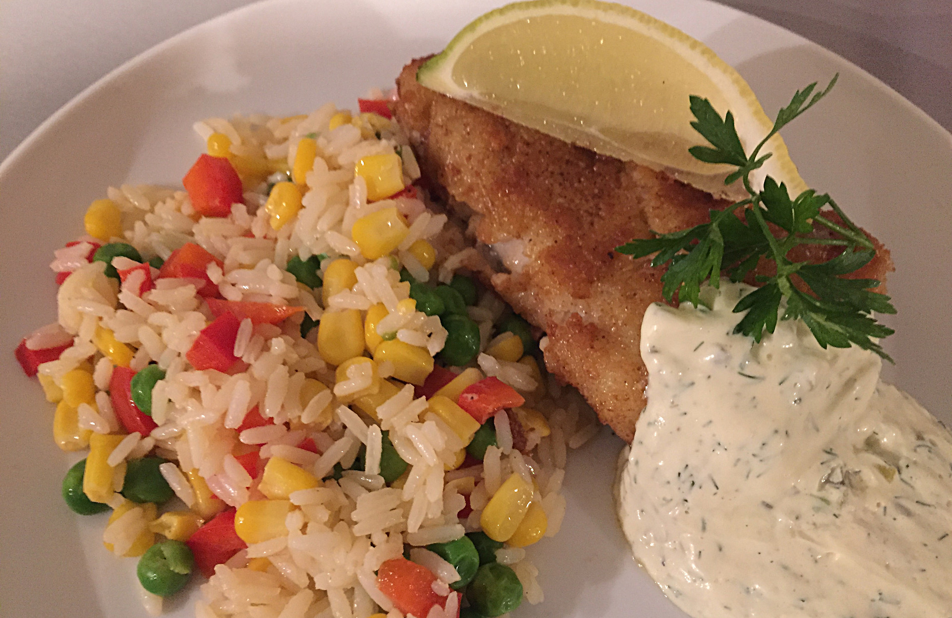 Cod In Breadcrumbs With Vegetable Rice and Remoulade à la Nordsee