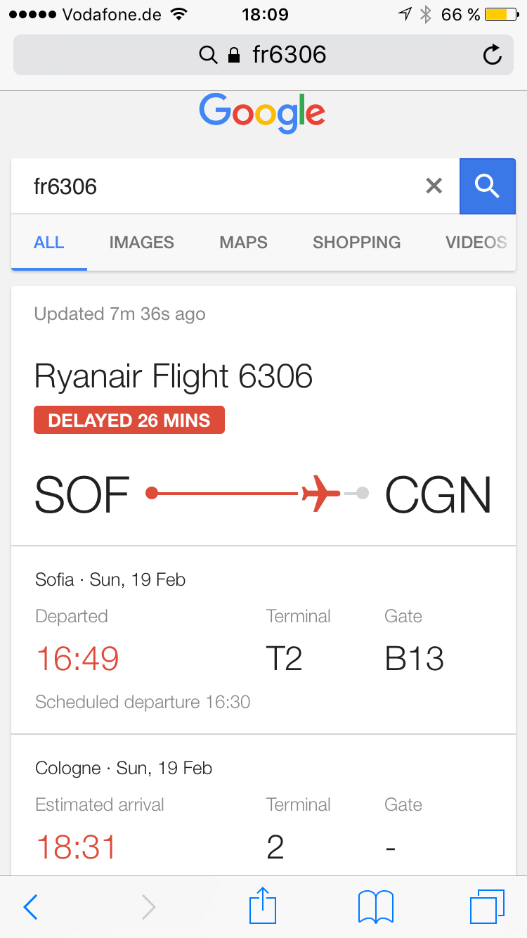 Ryanair FR6306 as shown by Google