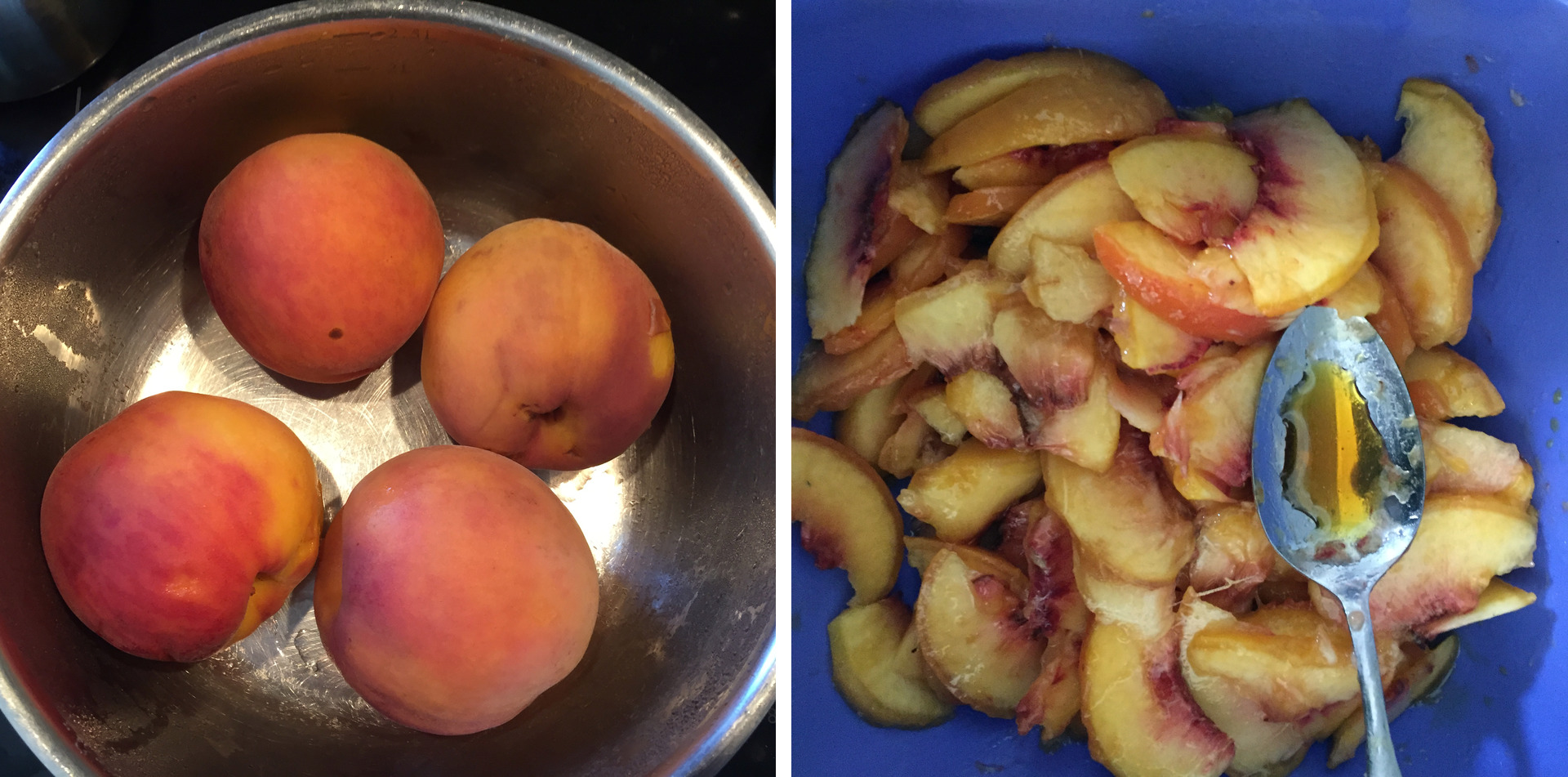 Peaches marinated in salty caramel syrop