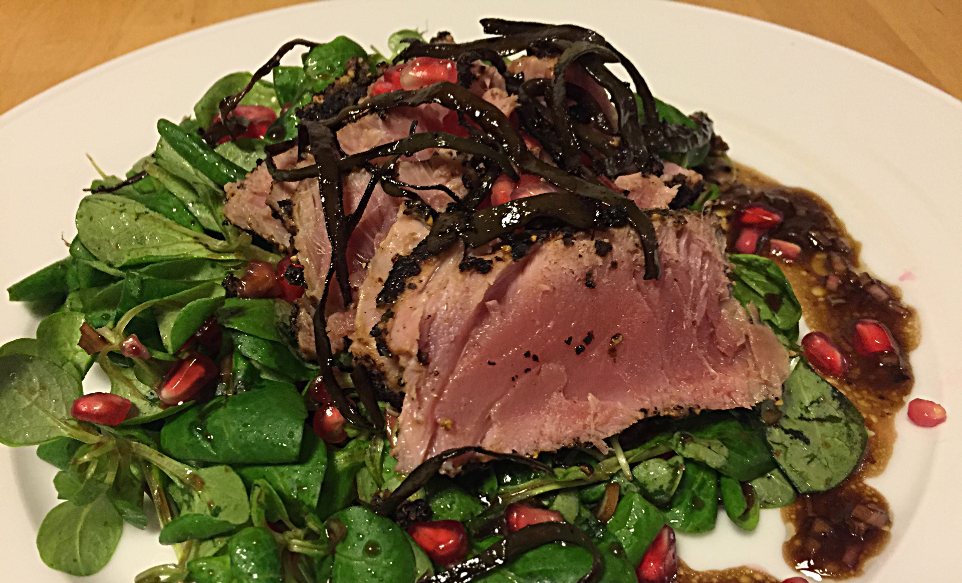 Pepper-Crusted Tuna With Pomegranate Corn Aalad