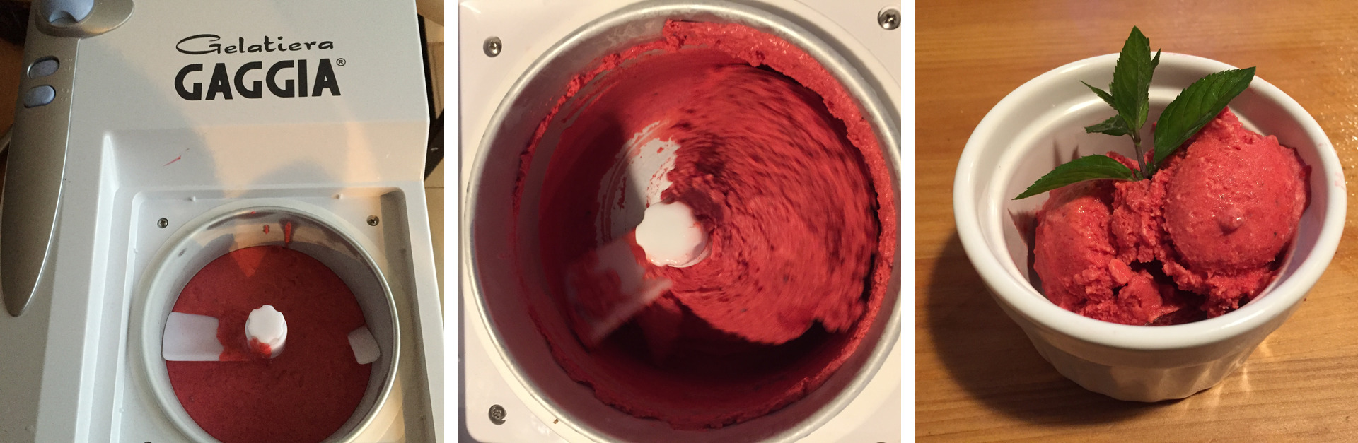 The raspberry ice cream in the ice cream maker